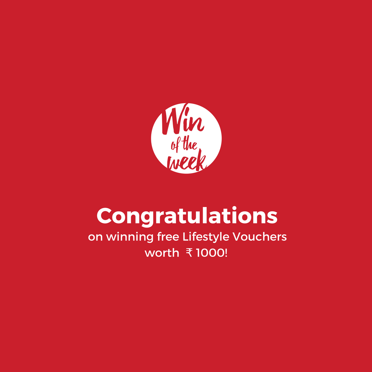 Winners - Free Lifestyle Vouchers - Win of the Week